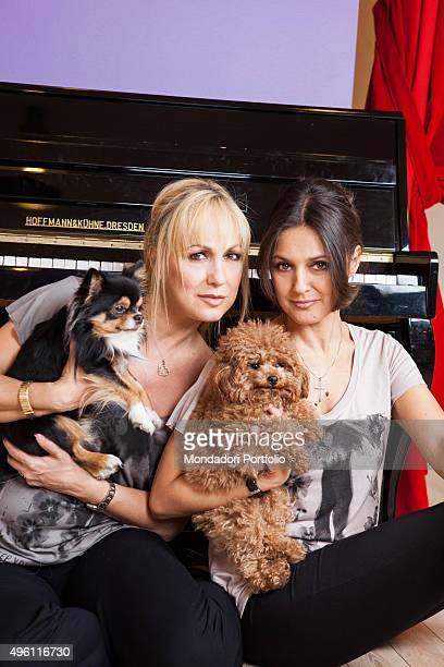 The dancer Alessandra Celentano actress Rosita Celentano with the poodle Euphoria in her arms posing in the gym Le Celentano in the shop Dimensione...