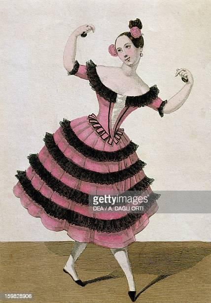 The dancer Fanny Elssler performing a fandango dance step Engraving 19th century Vienna Historisches Museum Der Stadt Wien