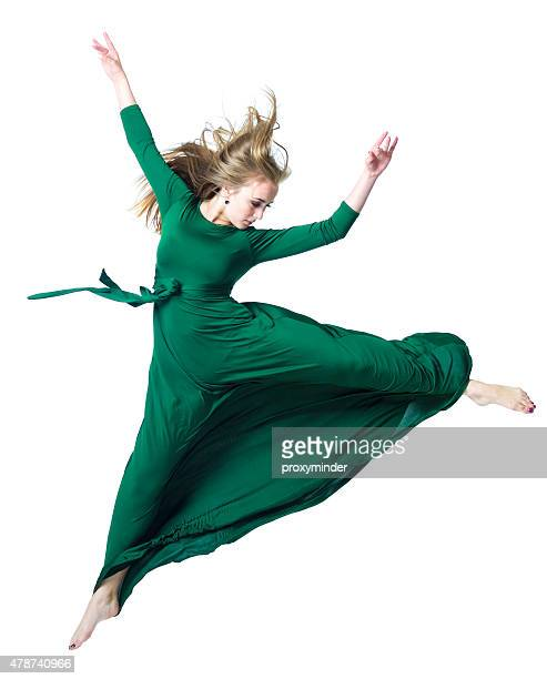 the dancer in midair isolated on white - cut out dress stock pictures, royalty-free photos & images