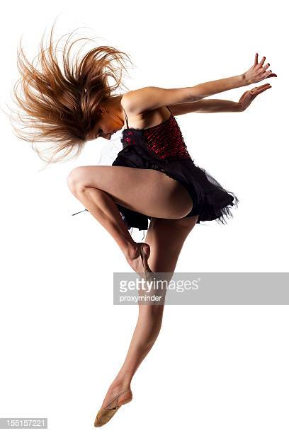 the dancer isolated on white - ballerina feet stock photos and pictures