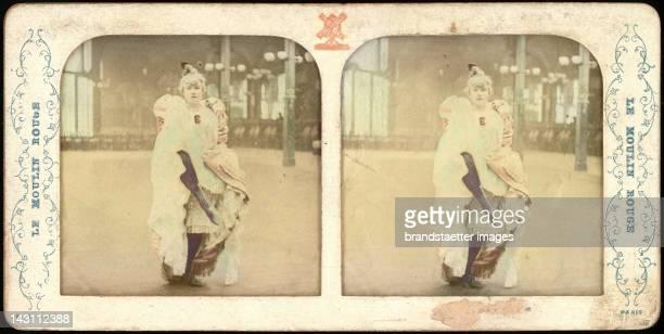 The dancer Louise Weber dit La Goulue from the vaudeville Le Moulin Rouge Paris Colored Stereograph around 1890