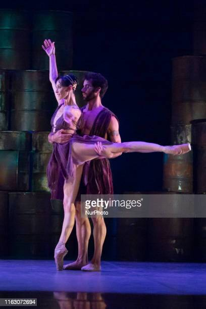 The dancer Lucia Lacarra de la Dancer of the Victor Ullate dance company perform on stage during the press preview of the ballet 'Antigona' at the...