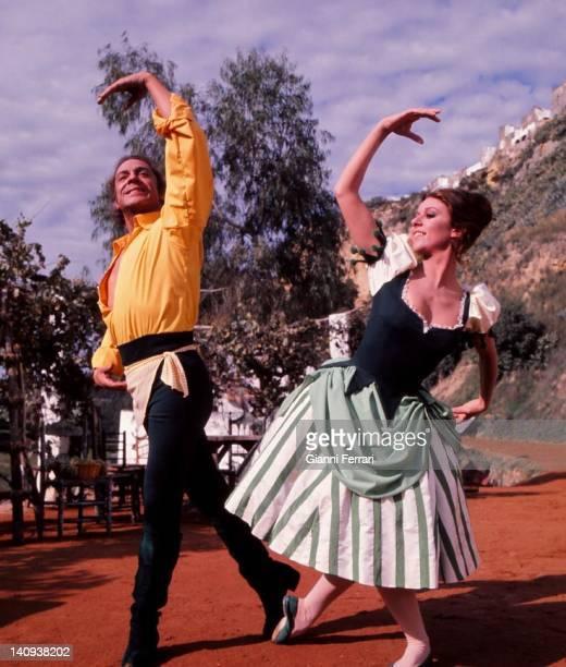The dancers Antonio and Lola Avila during the filming in Arcos de la Frontera of the movie ' El sombrero de tres picos' Arcos de la Frontera...