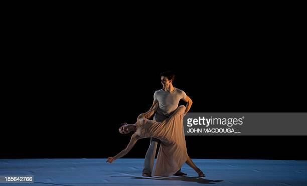 The dancers Emanuela Montanari and Antonino Sutera perform in Hector Berlioz' Scene d'Amour choreographed by Sasha Waltz during a dress rehearsal of...