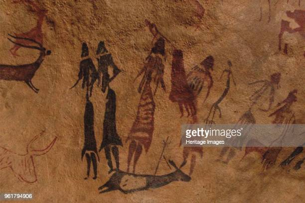 The dancers of Cogul. Cave painting from the Roca de los Moros . Found in the Collection of Museu d'Arqueologia de Catalunya, Barcelona.