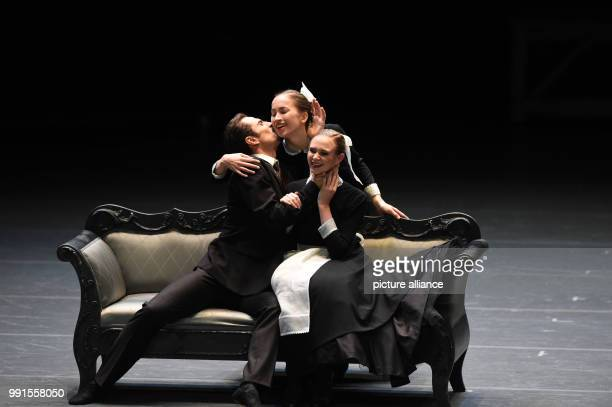 The dancers Tigran Mikayelyan Polina Bualova and Isabella Knights are to be seen at the rehearsals for Anna Karenina at the national theatre in...