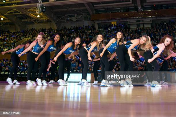 The Dancing Devils dance team of the Duke Blue Devils perform during Countdown to Craziness at Cameron Indoor Stadium on October 19 2018 in Durham...
