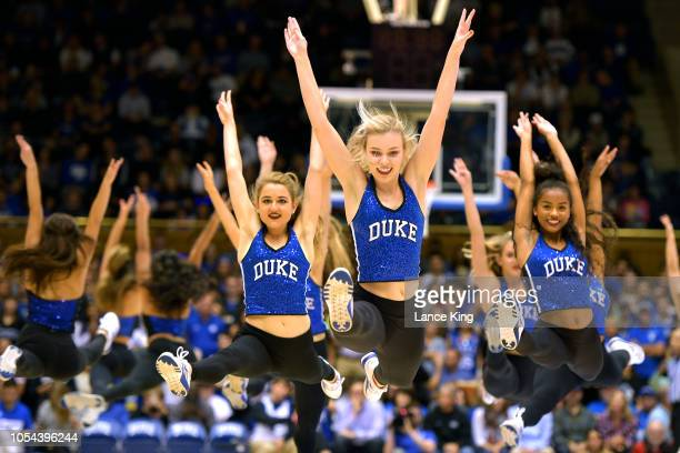 The Dancing Devils dance team of the Duke Blue Devils perform during the game against the Ferris State Bulldogs at Cameron Indoor Stadium on October...