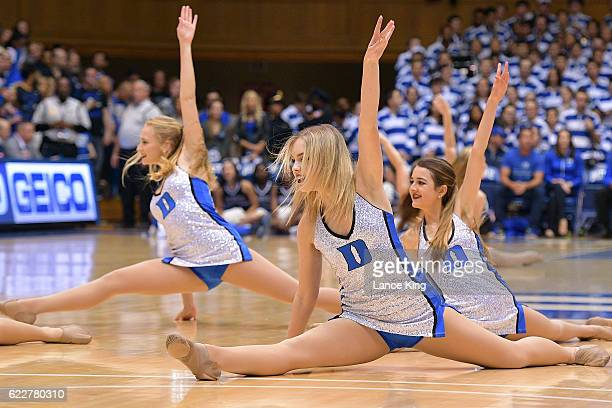 The Dancing Devils dance team of the Duke Blue Devils perform during their game against the Marist Red Foxes at Cameron Indoor Stadium on November 11...