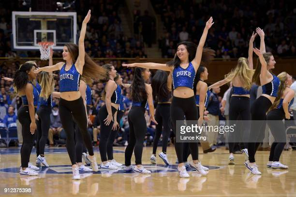 The Dancing Devils dance team of the Duke Blue Devils perform during the game against the Notre Dame Fighting Irish at Cameron Indoor Stadium on...