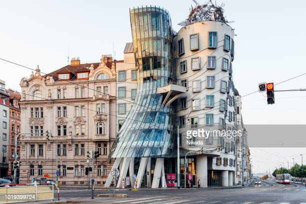 the dancing house in prague, czech republic - prague stock pictures, royalty-free photos & images