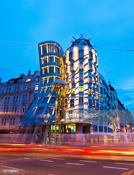the dancing house in prague, czech republic - national drunk stock photos and pictures