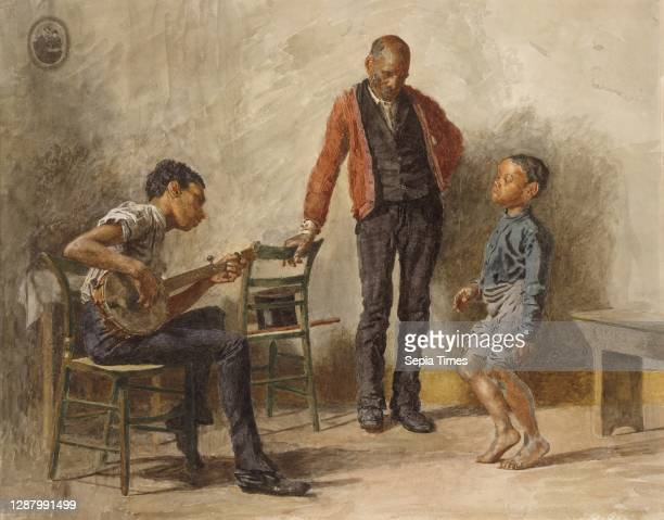 The Dancing Lesson, American, Thomas Eakins American, Watercolor on off-white wove paper, 18 1/16 x 22 9/16 in. , Drawings.