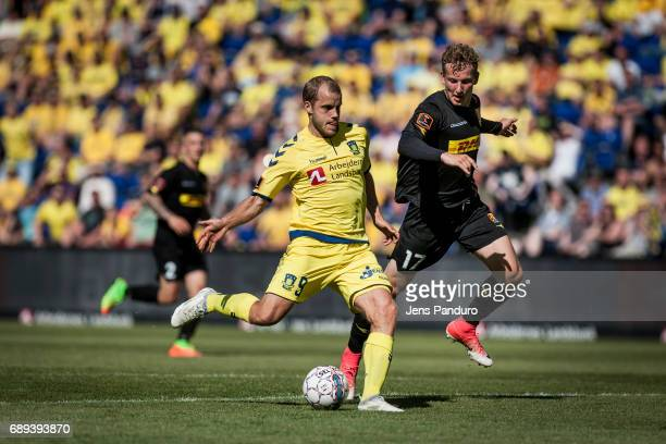 Teemu Pukki of Brondby IF in duel with Andreas Skovgaard of FC Nordsjalland BRONDBY DENMARK MAY 28 the Danish Alka Superliga match between Brondby IF...
