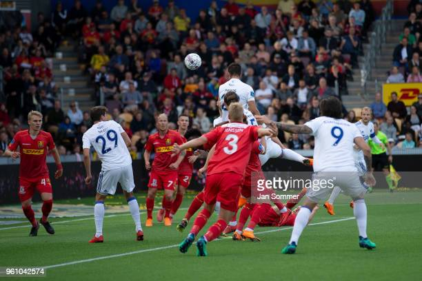 the Danish Alka Superliga match between FC Nordsjalland and FC Copenhagen at Right to Dream Park on May 21 2018 in Farum Denmark Pieros Sotiriou of...