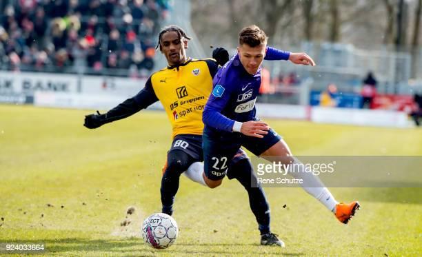 the Danish Alka Superliga match between Hobro IK and FC Midtjylland at DS Arena on February 25 2018 in Hobro Denmark Mikkel Duelund of FC Midtjylland...