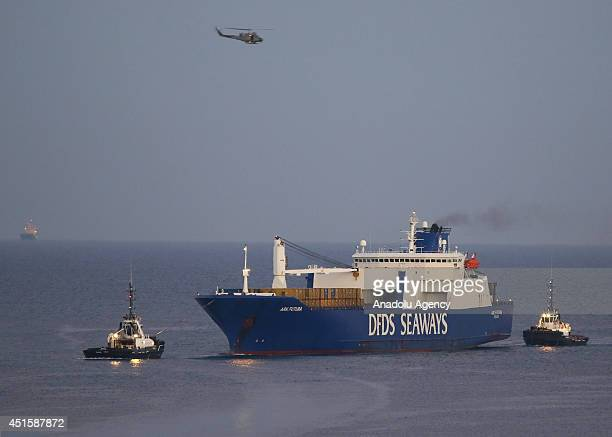 The Danish cargo ship Ark Futura carrying the chemical weapons shipped in Latakia city of Syria arrives at Gioia Tauro port on July 2 2014 About 1300...