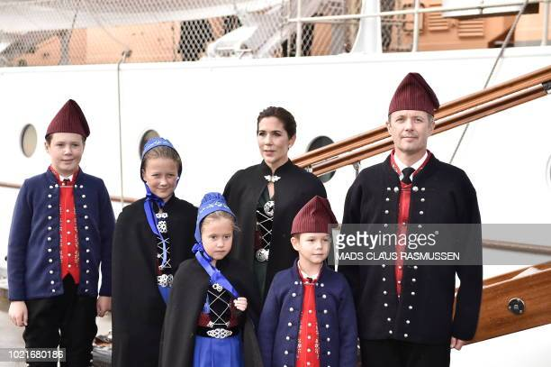 The Danish Crown Prince couple Frederik of Denmark and Mary of Denmark together with their four children pose in front of their Royal Ship during an...