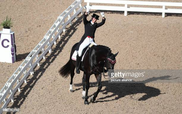 The Danish dressage rider Agnete Kirk Thinggaard on horse Jojo AZ can be seen during the Grand Prix of the teams at the European Equestrian...
