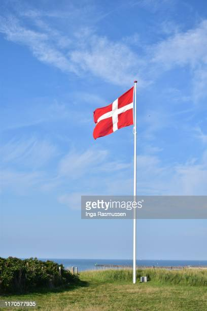 the danish flag in the wind - flagpole stock pictures, royalty-free photos & images