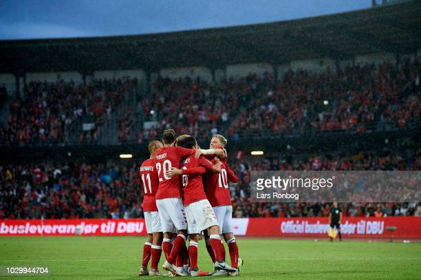 The danish players celebrate after the 20 goal scored by Christian Eriksen of Denmark during the UEFA Nations League match between Denmark and Wales...
