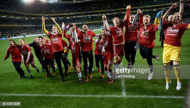 The danish players celebrate after the the FIFA 2018 World Cup Qualifier PlayOff Second Leg match between Republic of Ireland and Denmark at Aviva...