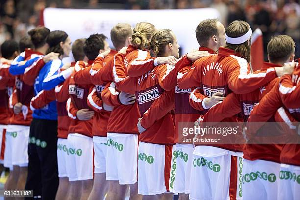 The danish players during lineup prior to the BYGMA Cup 2017 match between Denmark and Hungary at Gigantium on January 05 2017 in Aalborg Denmark