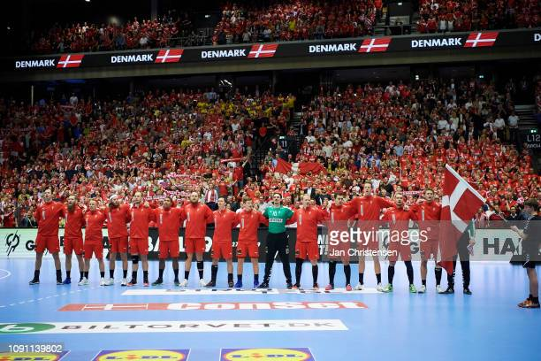 The danish players during line-up prior to the IHF Men's World Championships Handball Final between Denmark and Norway in Jyske Bank Boxen on January...