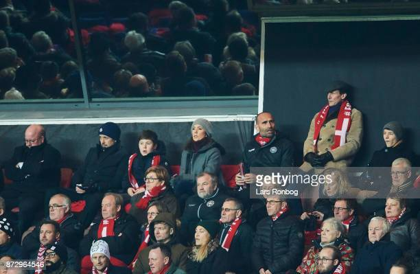 The danish royal family watching the game fr Left Jesper Moller president of Danish FA Crown Prince Frederik prince Christian Crown Princess Mary...