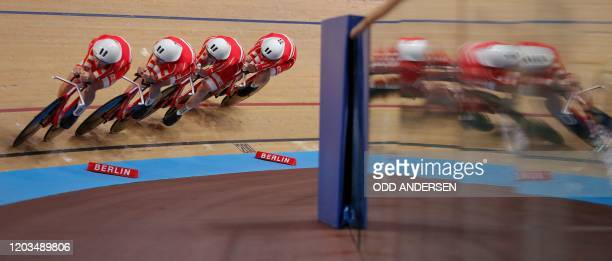 The Danish team competes in the men's Team Pursuit at the UCI track cycling World Championship in Berlin on February 26, 2020.