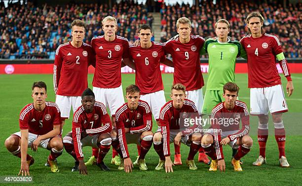 The danish team prior to the EURO 2016 U21 Playoff match between Denmark and Island at Aalborg Stadium on Oktober 10 2014 in Aalborg Denmark Standing...
