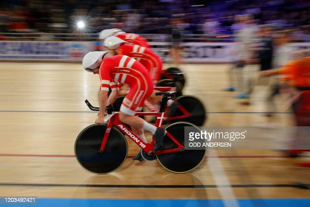The Danish team take the start in the men's Team Pursuit at the UCI track cycling World Championship in Berlin on February 26, 2020.
