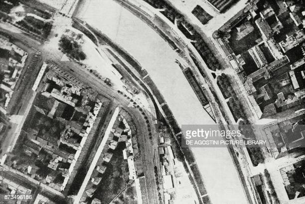 The Danube Canal photographed from an aeroplane of the Serenissima squadron flying over Vienna Austria World War I from l'Illustrazione Italiana Year...