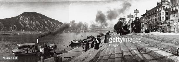 The Danube in Budapest , in the background the Franz-Joseph's Bridge. Photography by Rudolf Balogh. Around 1910. [Die Donau in Budapest, im...