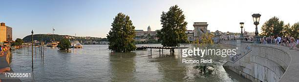 The Danube's flood at the record level as viewed in the sunset from the road to the Chain Bridge .