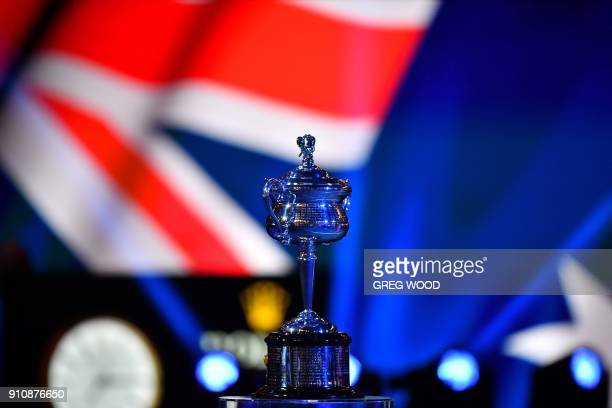 The Daphne Akhurst Memorial Cup is seen before the women's singles final match between Romania's Simona Halep and Denmark's Caroline Wozniacki on day...