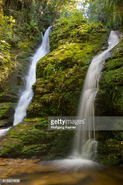 The Darby Falls near the historic Meretoto in Queen Charlotte Sound in the Marlborough Sounds of the South Island in New Zealand
