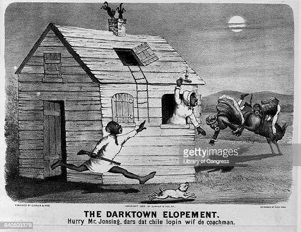 The Darktown Elopement Hurry Mr Jonsing Dars Dat Chile Lopin Wif de Coachman by Currier Ives