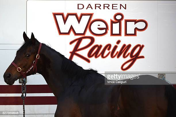 The Darren Weir horse float is seen at trackwork at Lady Bay beach ahead of the Warrnambool Racing Carnival on May 03 2016 in Warrnambool Victoria...