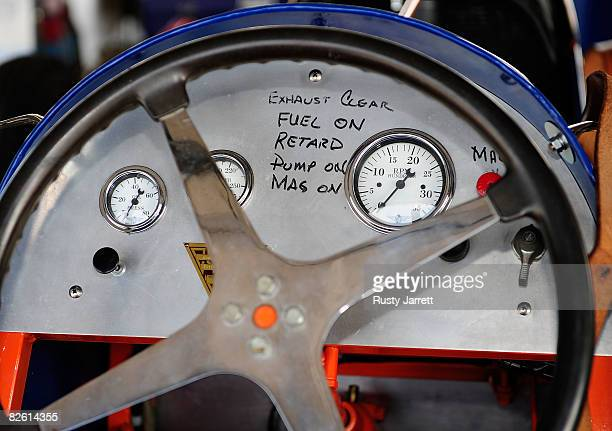 The dash of a vintage car in the garage area during the Darlington Vintage Racing Festival at Darlington Raceway on August 31 2008 in Darlington...