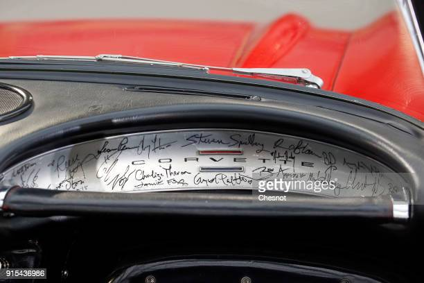 The dashboard of a Chevrolet Corvette Roadster 1961 is displayed during a press preview before a mass auction of vintage vehicles organised by...