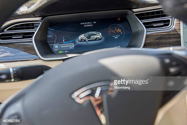 The dashboard of a Tesla Motors Inc Model S car equipped with Autopilot is seen during a test drive in Palo Alto California US on Wednesday Oct 14...