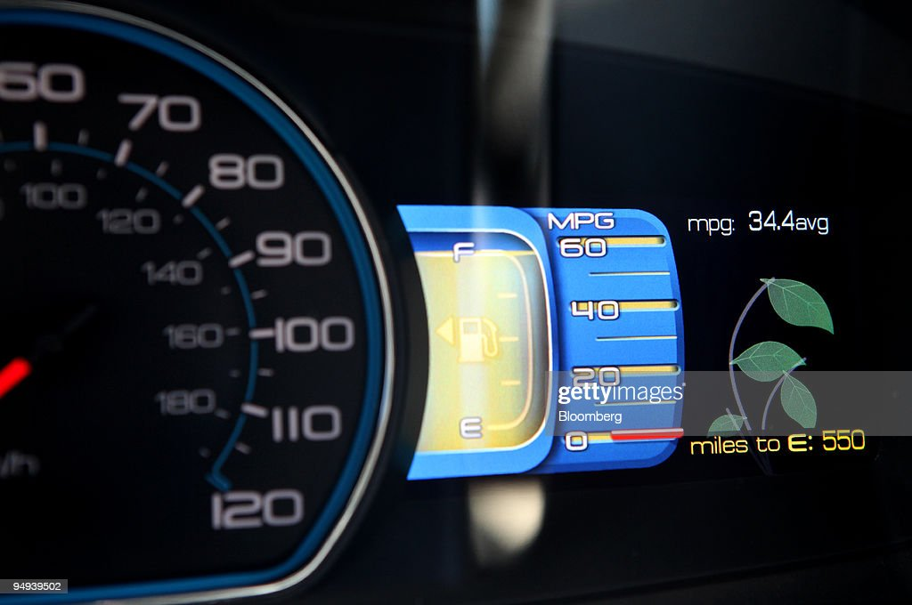 The Dashboard Of 2010 Ford Motor Co Fusion Hybrid Displ News Photo