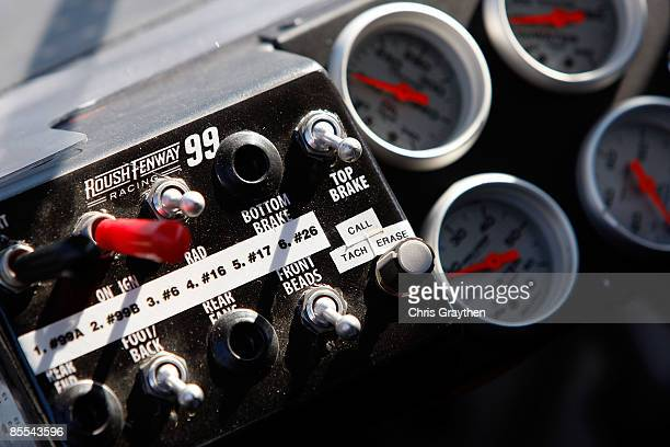The dashboard of the Aflac Ford driven by Carl Edwards is seen during practice for the NASCAR Sprint Cup Series Food City 500 at Bristol Motor...
