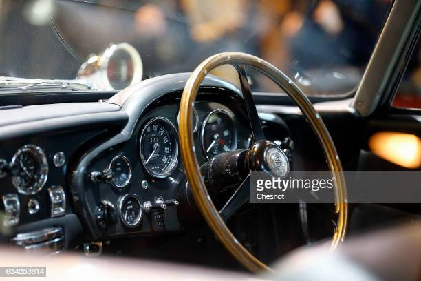 The dashboard of the famous James Bond's Aston Martin DB5 used in 'Goldfinger' and 'Thunderball' films is seen during the Retromobile show on...