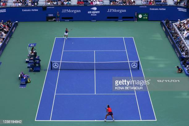 The date 9/11/01 is seen on the court on the 20th anniversary of 9/11 during the 2021 US Open Tennis tournament women's final match between Britain's...