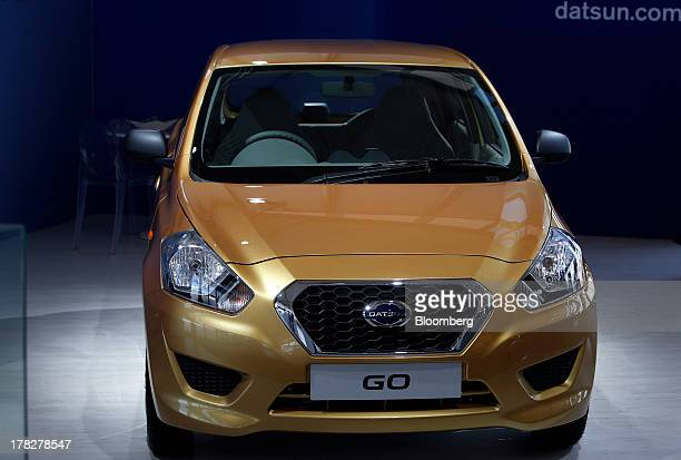 The Datsun GO vehicle is displayed during the Nissan Motor Co 360 event in Irvine California US on Tuesday Aug 27 2013 Nissan Motor Co which grabbed...