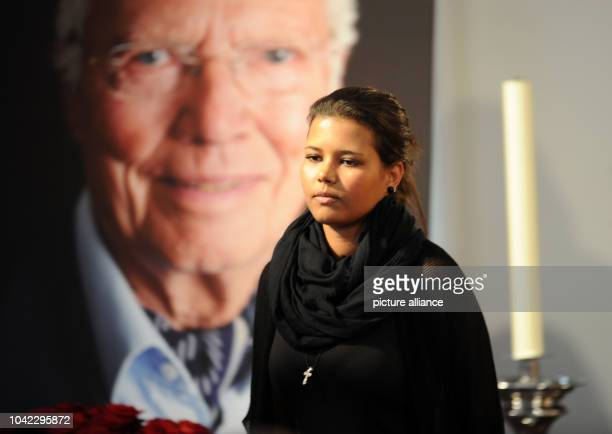 The daughter Aida Boehm at the memorial service of her father Karlheinz Boehm in Salzburg Germany 13 June 2014 The actor and founder of the Ethopia...