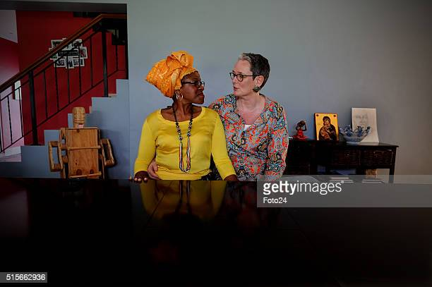 The daughter of Archbishop Emeritus Tutu Reverend Mpho Tutu and her wife Professor Marceline Furth chat during an interview on March 12 2016 at their...