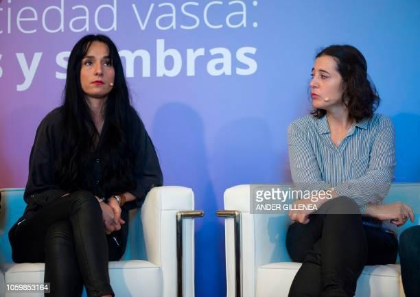 The daughter of conscientious objector refugee in Hendaye Juan Carlos Garcia Goena's daughter Maider Garcia Goena and Eugenio Olaciregui's daugther...